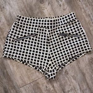 UO Sparkle & Fade black and white checkered shorts